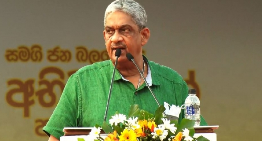 Field Marshal Sarath Fonseka speaks at the 1st Anniversary celebration of the Samagi Jana Balawegaya.