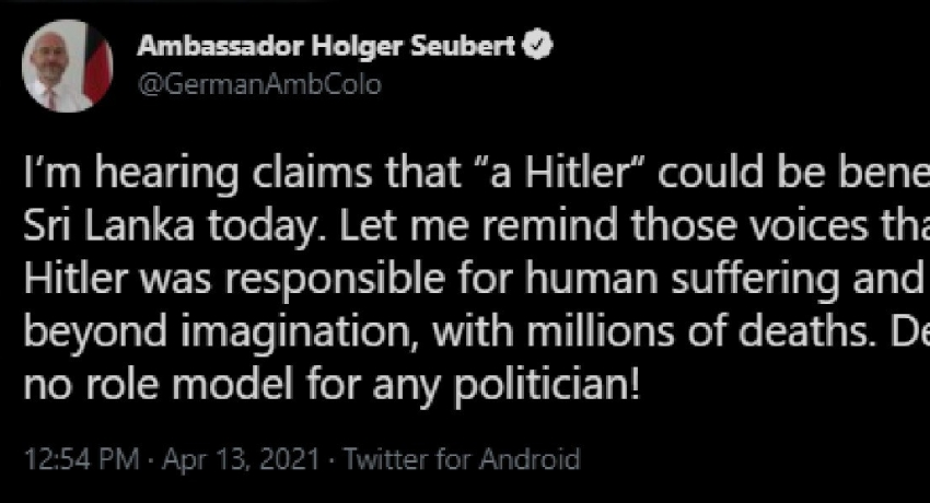 German Ambassador to Sri Lanka responds to the controversial Hitler statement