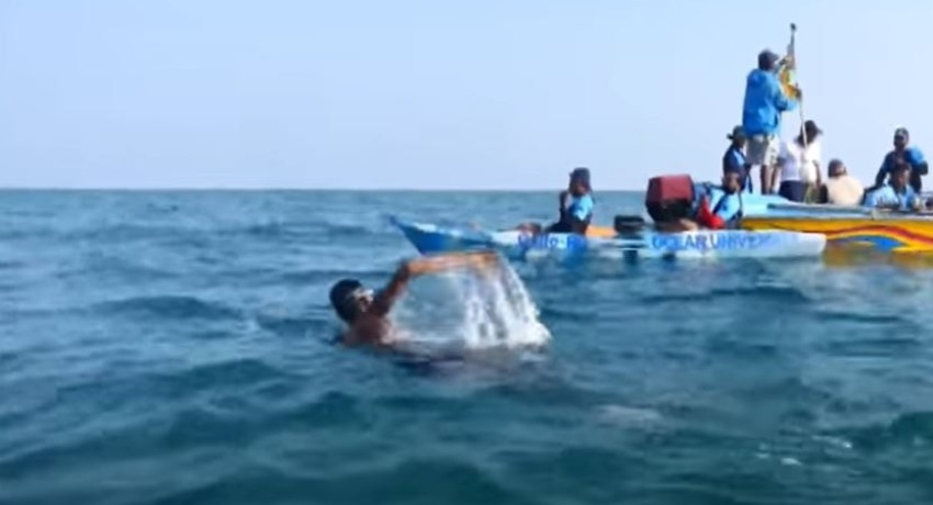 (VIDEO) SLAF swimmer to set world record with Palk Strait Sea Swim