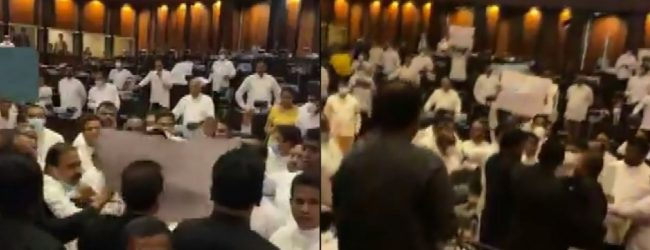(VIDEO) Govt. & Opposition clash as chaos ensues in Parliament