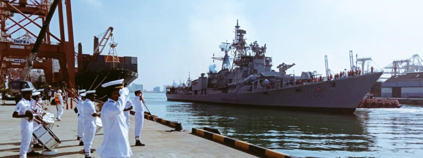 Indian Navy destroyer INS Ranavijay in Sri Lanka