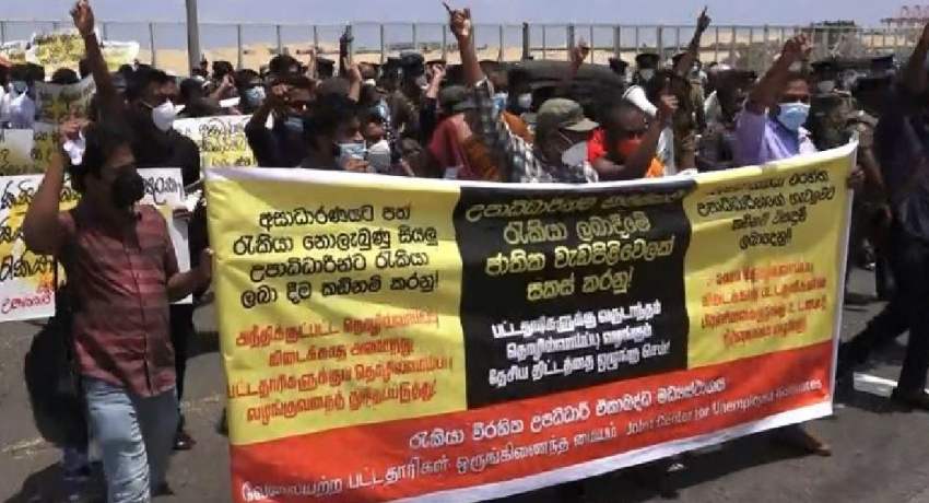 (VIDEO) Scuffles between protestors and police in Colombo