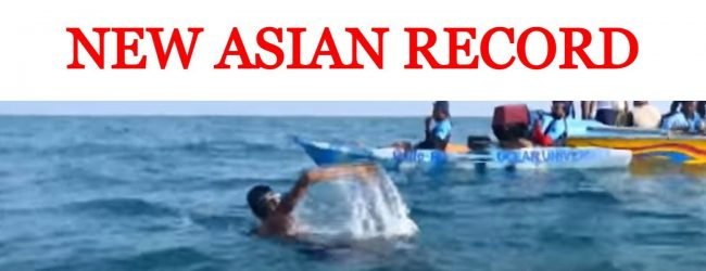 50 year old record falls, as Roshan swims across Palk Strain in record time