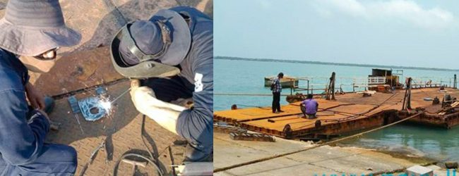 Navy fixes a defunct ferry connecting Punguduthivu and Nainativu