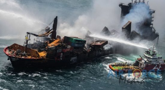 (PICTURES) Firefighting efforts continue to contain fire on board X-PRESS PEARL