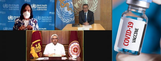 WHO to fulfill Sri Lanka's AstraZeneca Vaccine need; President