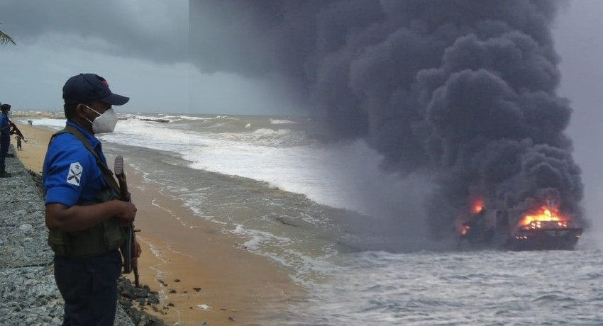 Special Security along western coast; DO NOT touch debris from burning ship