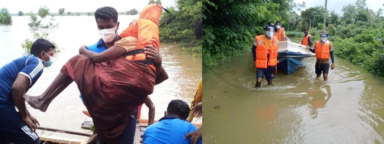 (PICTURES) Navy rescues 29 flood victims in the Puttalam district