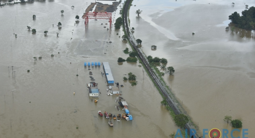 (PICTURES): Aerial images of flood affected Kalutara District released by Air Force