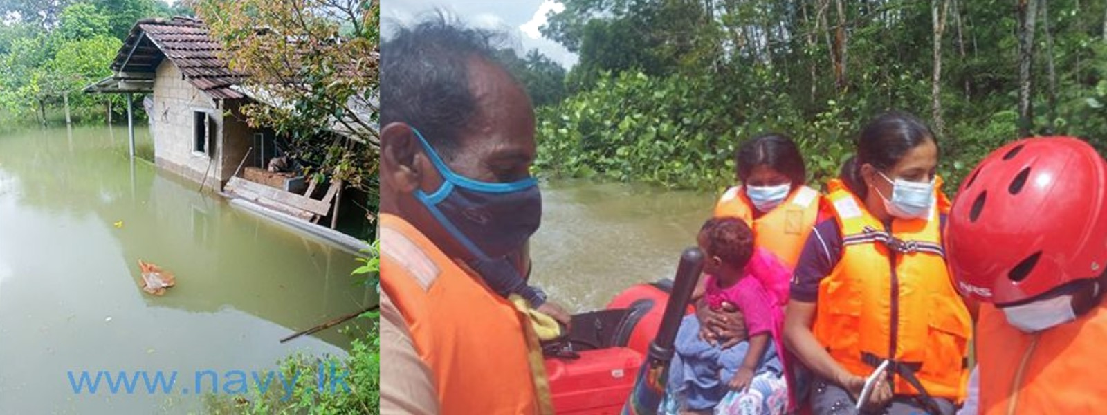Navy rescues another 66 people affected by floods in Gampaha and Kalutara districts