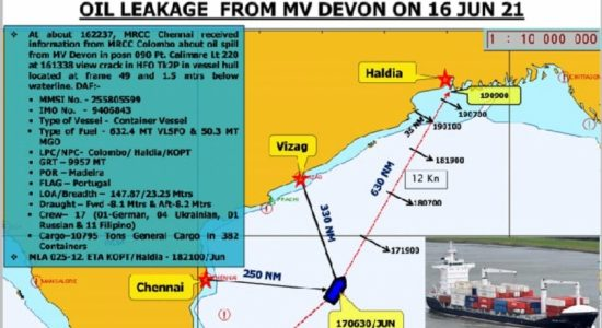 Oil Spill from container ship that left Sri Lanka, off Chennai Coast