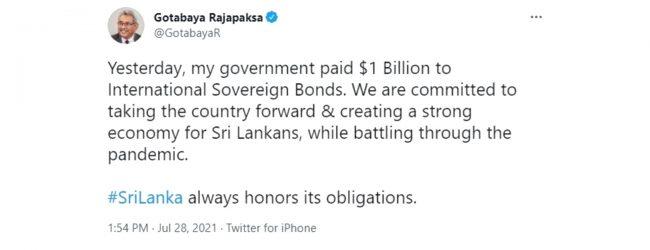 Sri Lanka always honors its obligations, tweets President