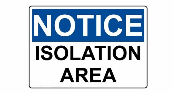 Isolation notice for Friday (09)