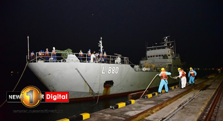 SLNS Shakthi carrying medical grade oxygen from India arrives at port of Colombo