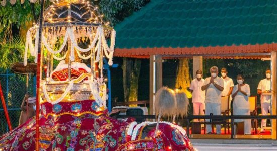 President obtains blessings from the Sacred Tooth Relic.