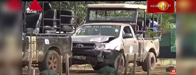 Speeding Safari jeeps cause accident inside Yala