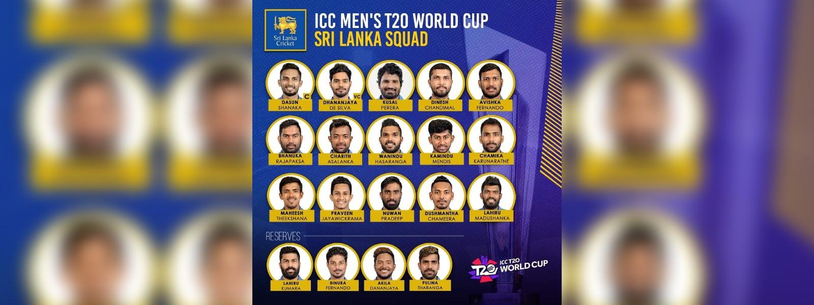 Sri Lanka squad for T20 WC announced