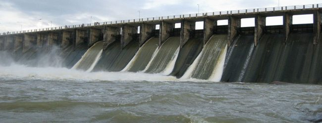 Sluice gates of several reservoirs opened