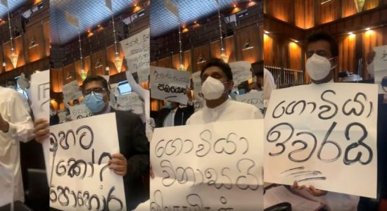 SJB MPs protest in Parliament in support of farmers demanding fertilizer