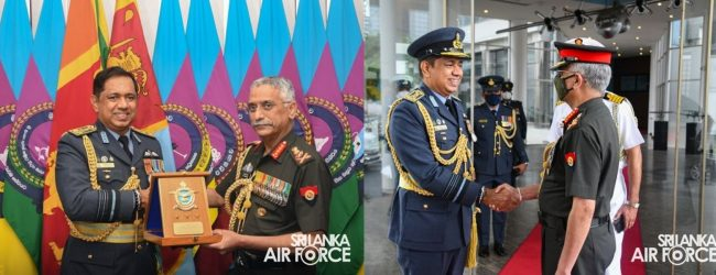 (PICTURES) Indian Army Chief meets Sri Lanka's Air Force Commander