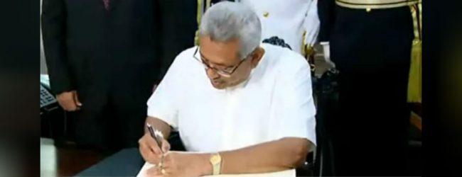 ஜனாதிபதி கோட்டாபய ராஜபக்ஸ கடமைகளைப் பொறுப்பேற்றார்