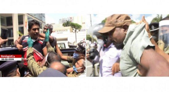 முன்னிலை சோசலிசக் கட்சியின் போராட்டம் கலைப்பு: குமார் குணரட்னம் உள்ளிட்ட 42 பேர் கைது
