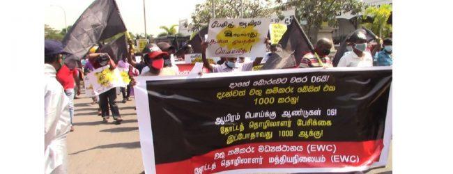 தோட்டத் தொழிலாளர்களுக்கான சம்பள அதிகரிப்பை வலியுறுத்தி கொழும்பில் கவனயீர்ப்பு போராட்டம்